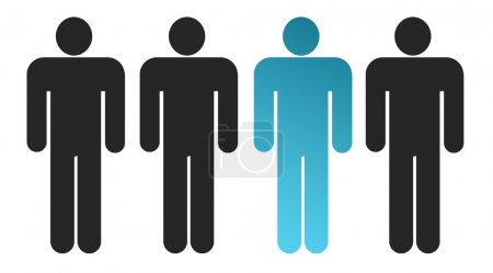 Photo for Black man silhouette over white background.. One stands out from others - Royalty Free Image