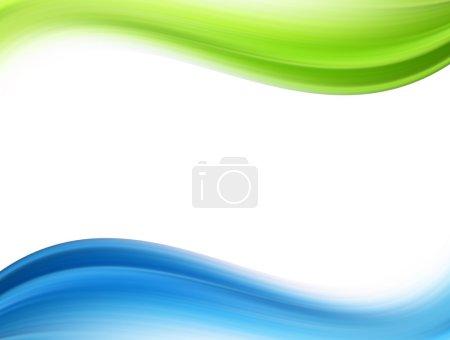 Foto de Ondas dinámicas verdes y azules sobre fondo blanco - Imagen libre de derechos