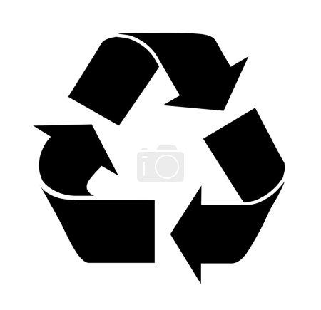Photo pour Symbole de recyclage noir sur fond blanc. Illustration . - image libre de droit