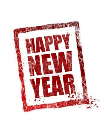 Photo for Happy new year stamp on white background - Royalty Free Image