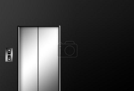 Chrome elevator doors closed on black wall. Illust...