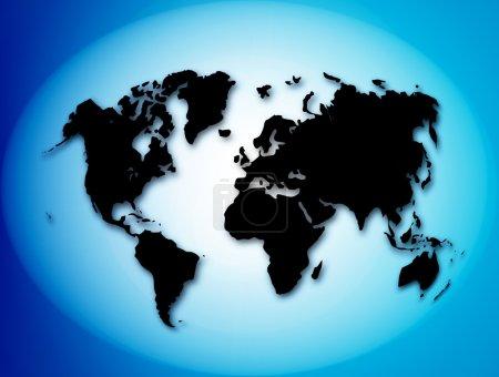 Photo pour Carte noire de monde sur fond bleu - image libre de droit