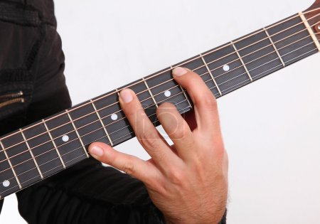 Photo for Hand holding a guitar over white background - Royalty Free Image