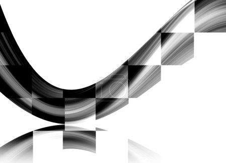 Photo pour Onde carrée dynamique sur fond blanc. Illustration - image libre de droit