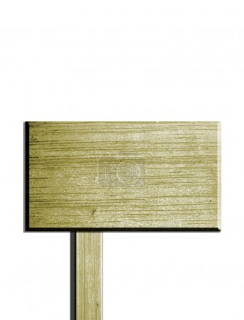 Photo pour Publicité en bois sur fond blanc. Illustration isolée - image libre de droit