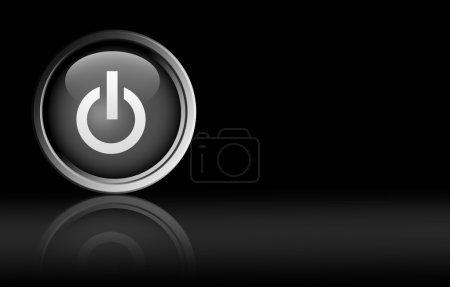 Photo pour Bouton sur fond noir. Illustration avec l'espace - image libre de droit