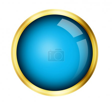 Photo for Blue button with gold frame over white background - Royalty Free Image