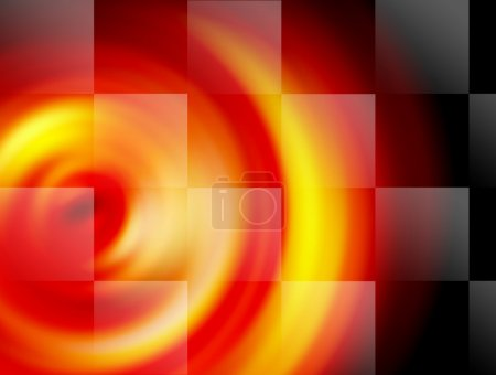 Photo for Yellow and red background with black and white flag - Royalty Free Image