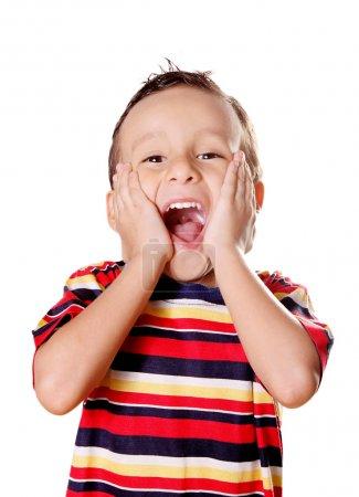 Photo pour Enfant exprimant surprise et bonheur sur fond blanc - image libre de droit
