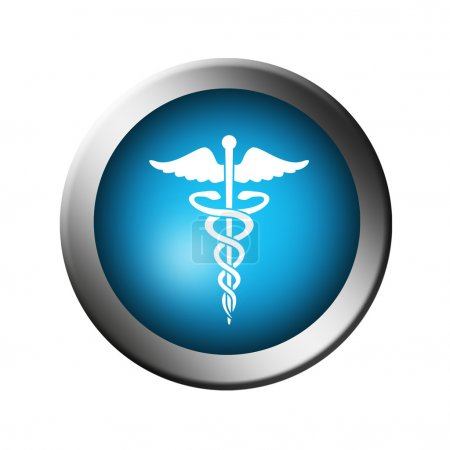 Photo for Blue button with the symbol of medicine over white background - Royalty Free Image