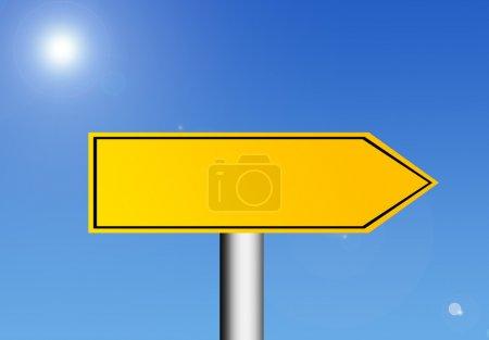 Photo pour Panneau de signalisation jaune sur fond de ciel avec espace en blanc pour insérer du texte ou un dessin. Illustration - image libre de droit
