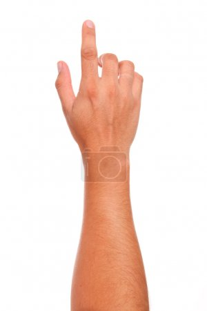 Photo for Finger in position of pressing a button over white background - Royalty Free Image