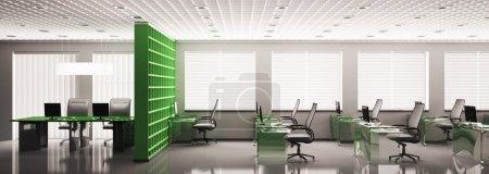 Photo pour Panorama de bureau moderne avec des ordinateurs rendu 3D intérieur - image libre de droit