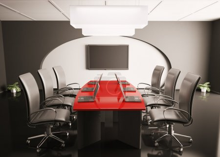 Conference room with lcd and laptops 3d