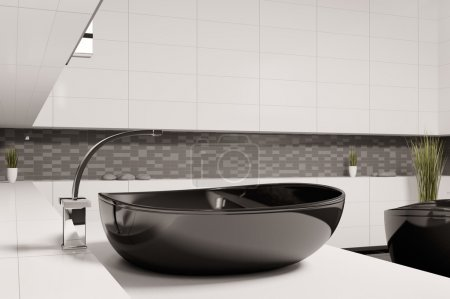 Black washbasin in bathroom 3d