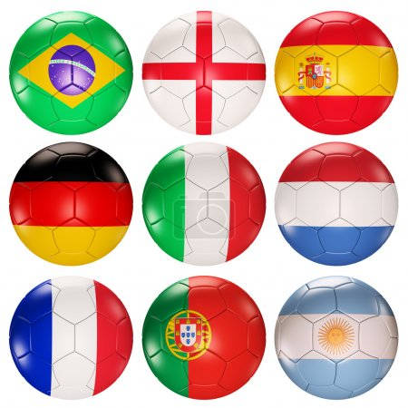 Soccer balls flags top ranked countries