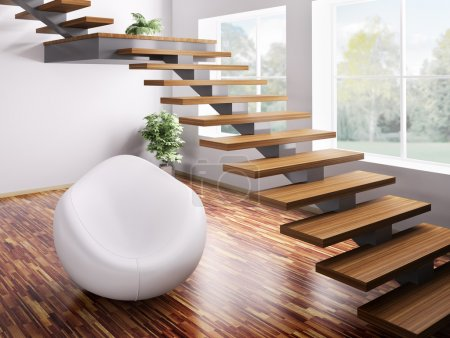 Photo for Interior with white armchair and wooden staircase 3d render - Royalty Free Image