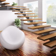 Interior with white armchair and wooden staircase ...