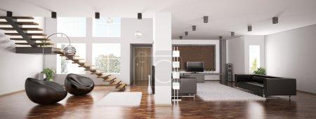 Photo pour Intérieur d'appartement panorama 3d render - image libre de droit