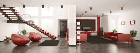 Photo for Modern apartment interior panorama 3d render - Royalty Free Image