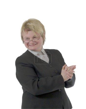 Businesswoman gesticulates