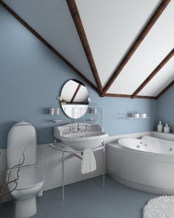 Photo pour Intérieur de la maison moderne. rendu 3D. salle de bains. design exclusif. - image libre de droit