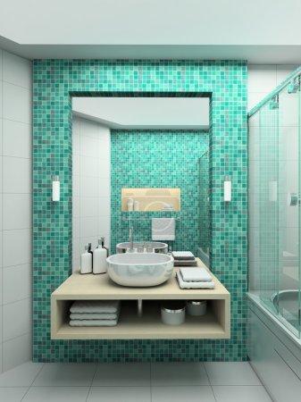 Photo pour Interior design moderne de salle de bains. rendu 3D - image libre de droit