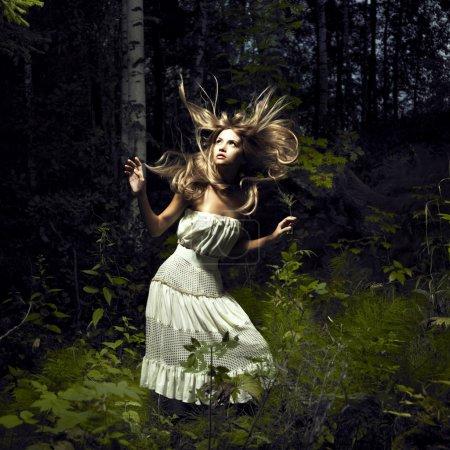 Foto de Retrato de la mujer romántica en el bosque de hadas - Imagen libre de derechos