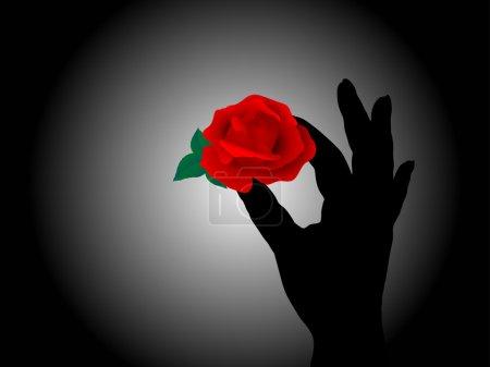 Illustration pour Main tenant la rose rouge - image libre de droit