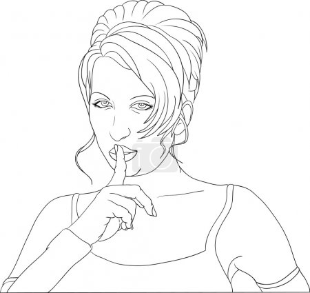 Illustration for Vector - women gesture keep silence - Royalty Free Image