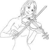 Vector - pretty woman playing violin