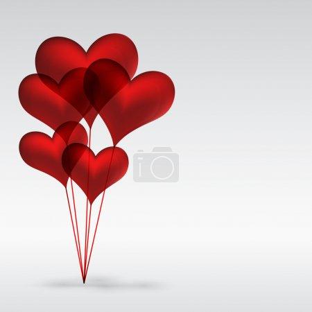 Illustration pour Eps10 Copule de ballons en gel rouge en forme de cœur - Illustration pour votre design . - image libre de droit