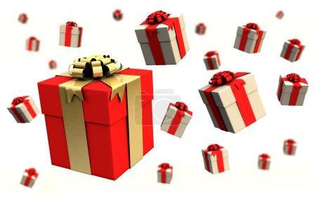 Photo pour Boîtes-cadeaux volantes sur fond blanc - image libre de droit