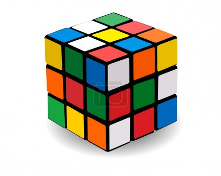 Illustration for Puzzle in the form of colour squares in the form of a cube - Royalty Free Image