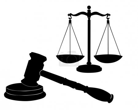 Illustration for Justice symbols on a white background - Royalty Free Image