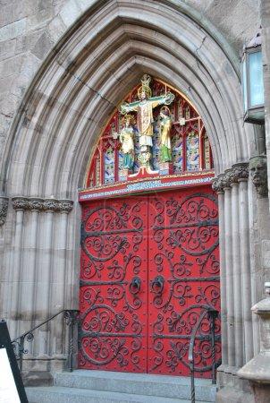 Decorative Christian church doors on Locust Street...