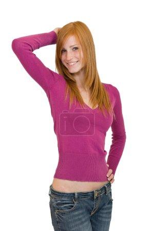 Redhead woman posing