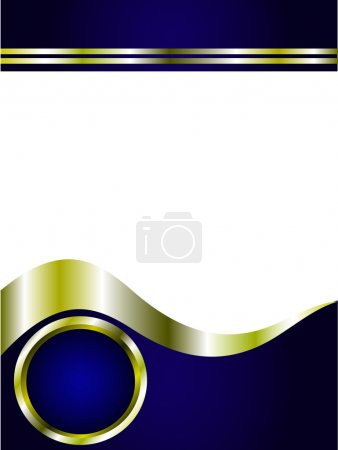 Illustration for A royal blue and gold and white Business card or Background Template - Royalty Free Image