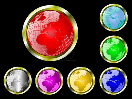Illustration for A set of seven vector wire mesh earth globe web buttons - Royalty Free Image