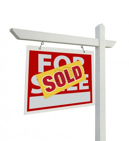 Sold For Sale Real Estate Sign Isolated