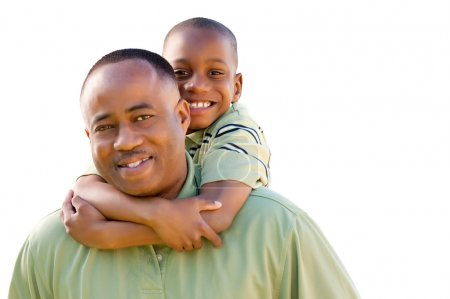 African American Man and Child on White