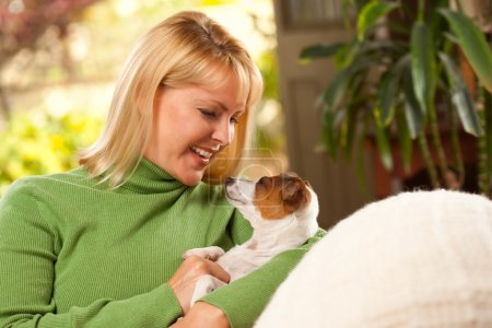 Woman and Jack Russell Terrier Puppy
