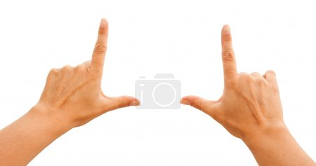 Photo for Female Hands Making Frame Isolated on a White Background with Clipping Paths for Your Own Positioning. - Royalty Free Image