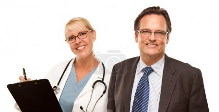 Smiling Businessman with Female Doctor or Nurse with Clipboard Isolated on