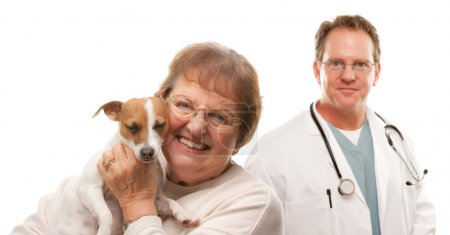 Happy Senior Woman with Her Dog and Male Veterinarian Isolated on a White B