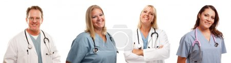 Set of Smiling Male and Female Doctors or Nurses