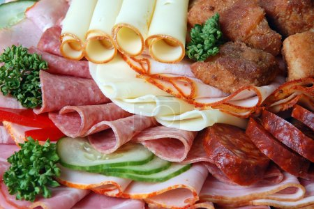 Salami and cheese rolls with vegetables...