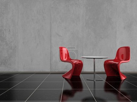 Photo for Modern red chairs on a shiny black stone floor - Royalty Free Image
