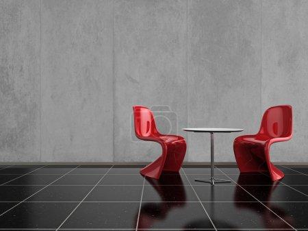 Photo pour Des chaises rouges sur un sol en pierre noir brillant - image libre de droit