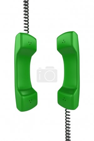 Photo for Shiny green phone illustration with black cord, isolated on a white background. - Royalty Free Image